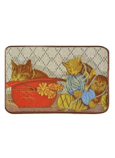 Giz Home Tapetto Paspas 50X80 Yumaklı Kedi Renkli